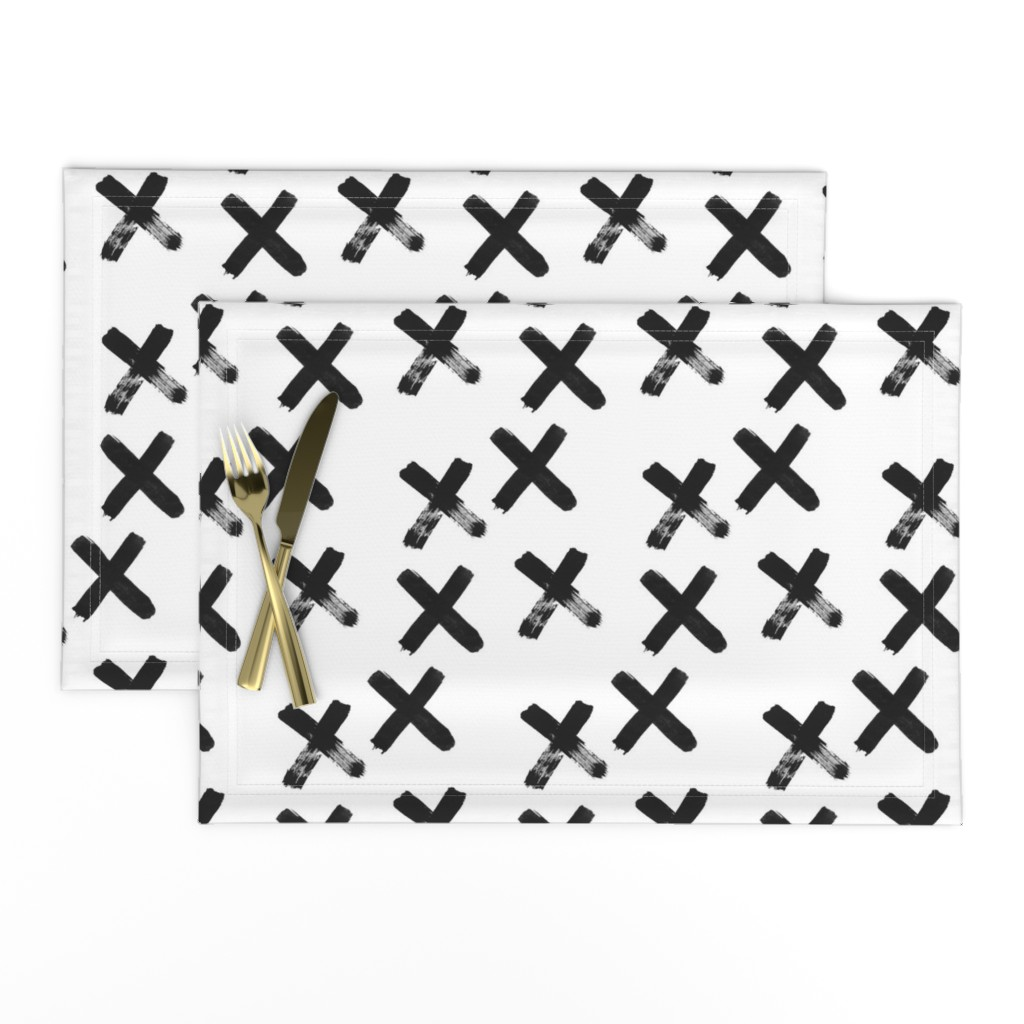 Lamona Cloth Placemats featuring Black X  - elvelyckan by elevenhatsdesign