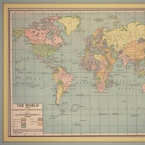 World vintage map, large