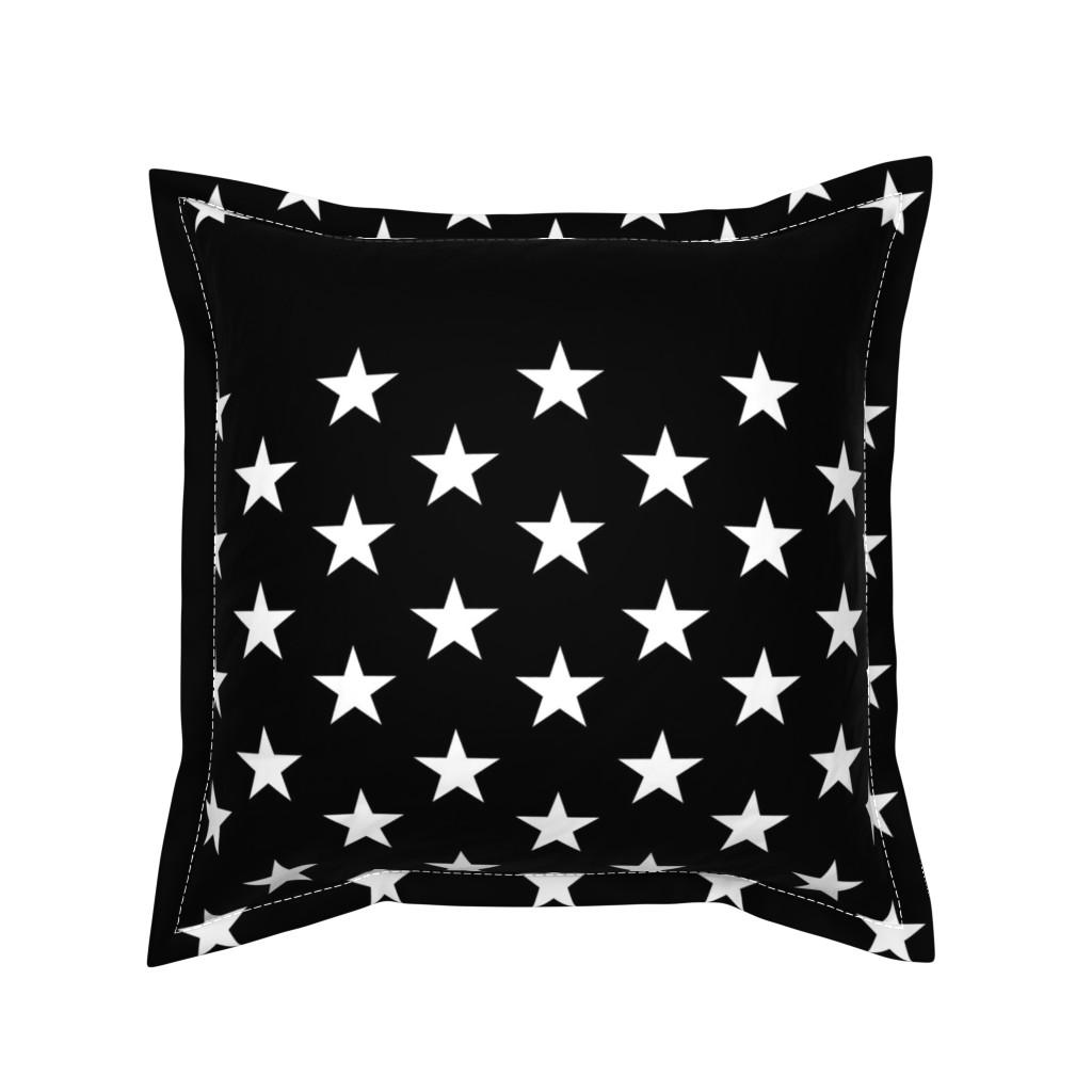 Serama Throw Pillow featuring Thin Blue Line quilt stars - dark gray field by renee2181