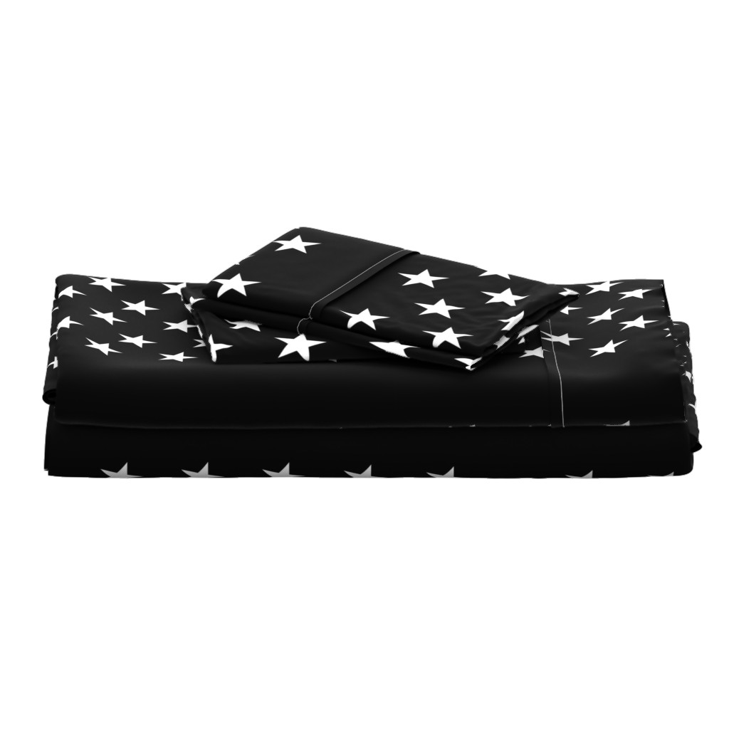 Langshan Full Bed Set featuring Thin Blue Line quilt stars - dark gray field by renee2181