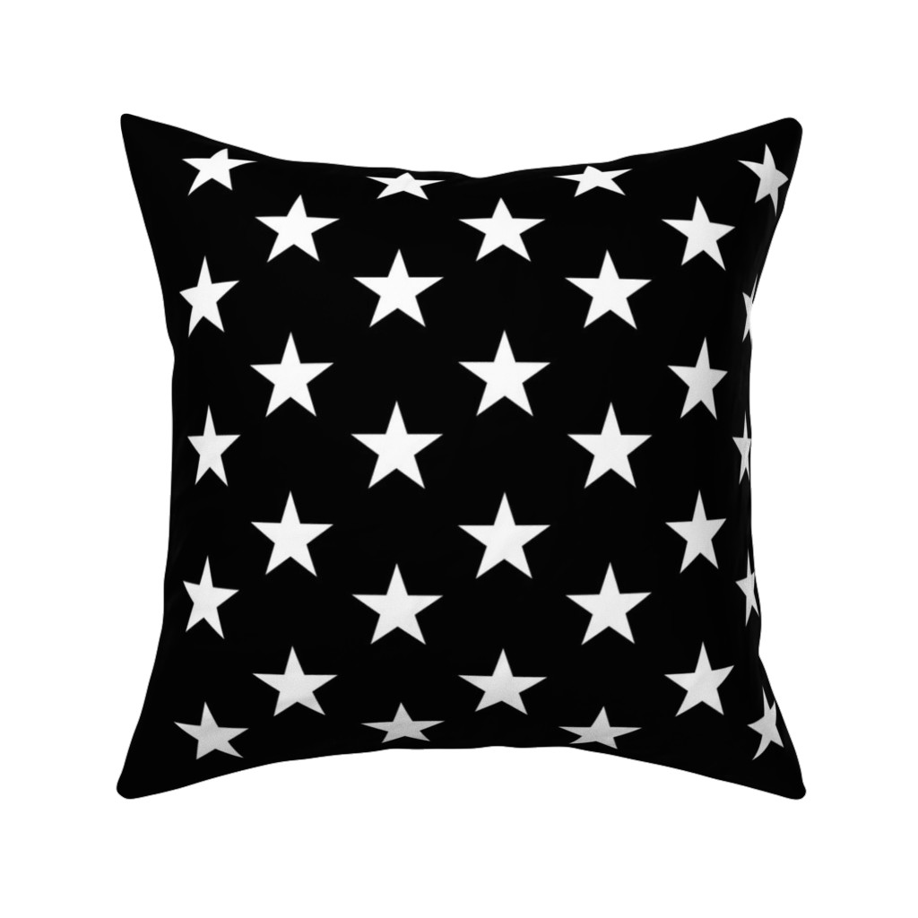 Catalan Throw Pillow featuring Thin Blue Line quilt stars - dark gray field by renee2181