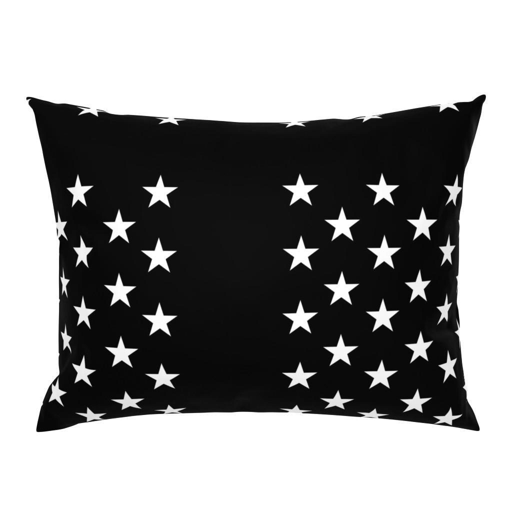 Campine Pillow Sham featuring Thin Blue Line quilt stars - dark gray field by renee2181
