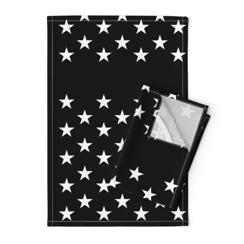 Orpington Tea Towels featuring Thin Blue Line quilt stars - dark gray field by renee2181