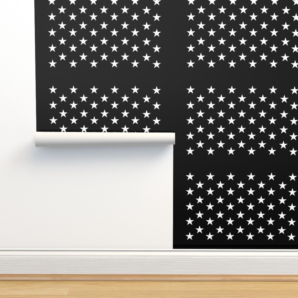 Isobar Durable Wallpaper featuring Thin Blue Line quilt stars - dark gray field by renee2181