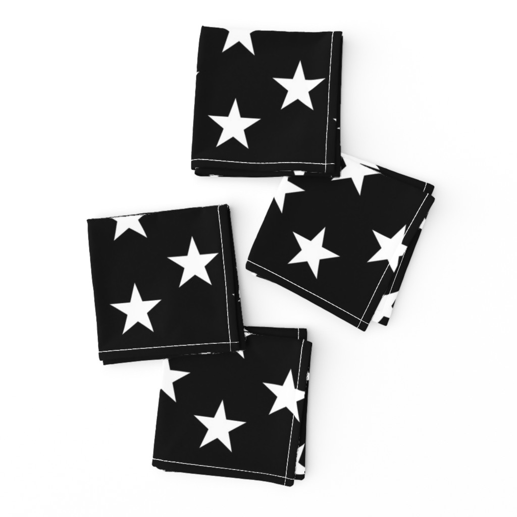 Frizzle Cocktail Napkins featuring Thin Blue Line quilt stars - dark gray field by renee2181