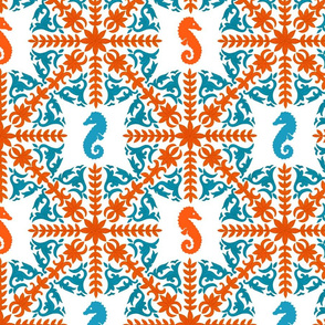The Coral Sea ~ Seahorse Damask ~ Coral and Caledonian Blue on White