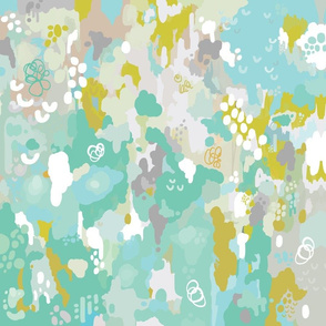 teal watercolor ikat - small scale