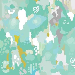 teal watercolor ikat