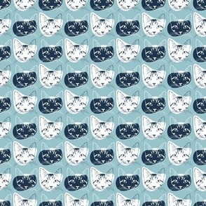 Watercolor Cat Heads - shades of blue & green on slate grey