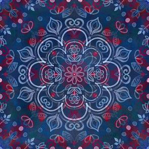 Watercolor Folk Art Pattern in Navy Blue & Red