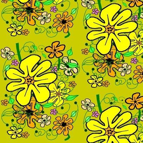 Sunshine Floral on Mustard