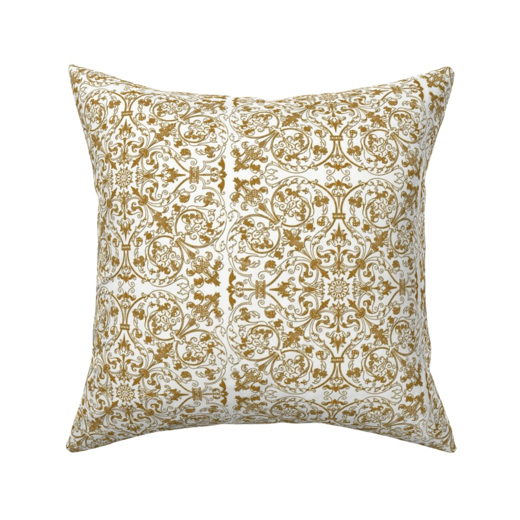 Catalan Throw Pillow featuring Renaissance Embroidery ~ Encrusted Gilt Thread by peacoquettedesigns