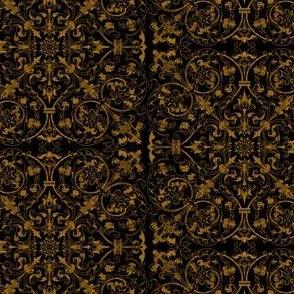 Renaissance Embroidery ~ Encrusted Gilt Thread on Black