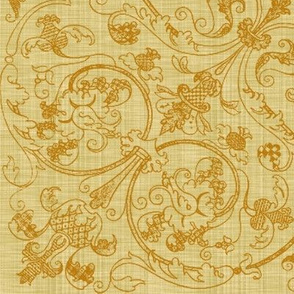Renaissance Embroidery ~ Gilt Thread on Trianon Cream Linen Luxe