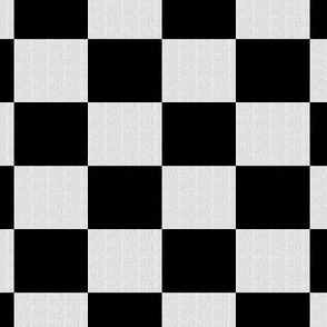 White Burlap Textured and Flat Black Checkerboard