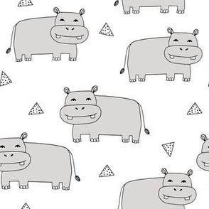 Happy Hippo -  Light Grey by Andrea Lauren