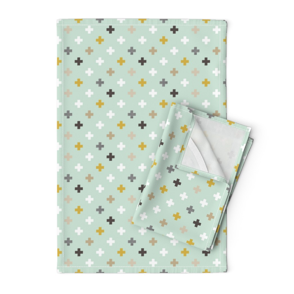 Orpington Tea Towels featuring Mod Mint Plusses Small Scale by mrshervi