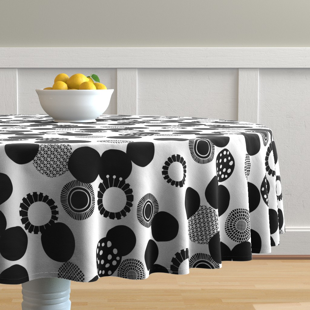 Malay Round Tablecloth featuring Rock Garden by spellstone