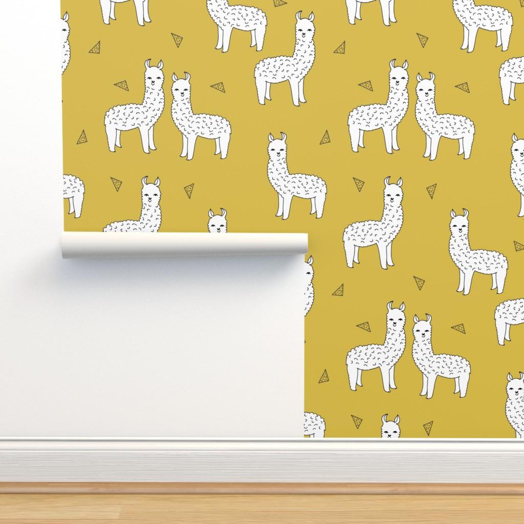 Isobar Durable Wallpaper featuring alpaca // mustard yellow alpaca fabric cute andrea lauren design llamas fabric nursery baby mustard yellow by andrea_lauren