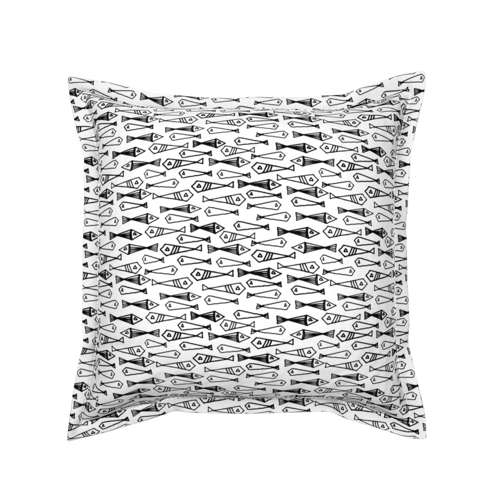 Serama Throw Pillow featuring Fish - Black and White by Andrea Lauren  by andrea_lauren