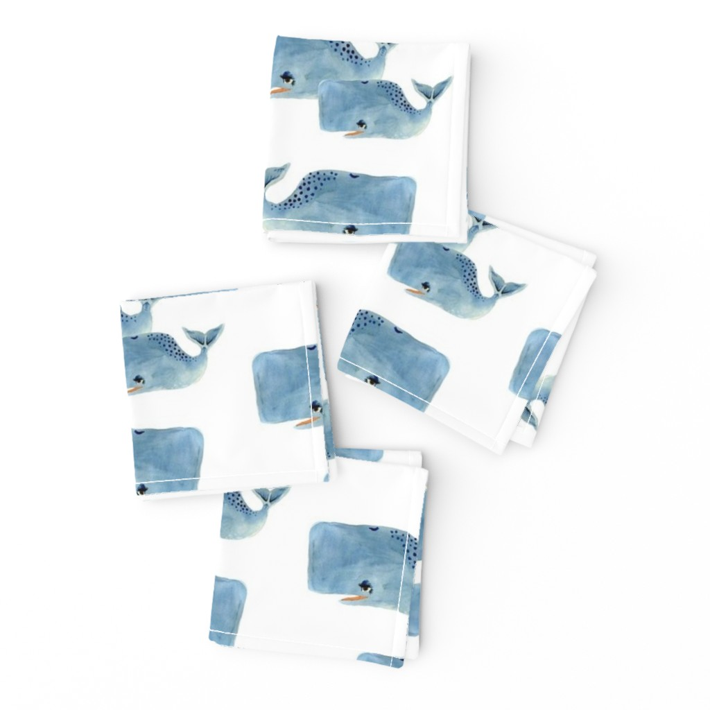 Frizzle Cocktail Napkins featuring Whale Pod in Blue by taraput