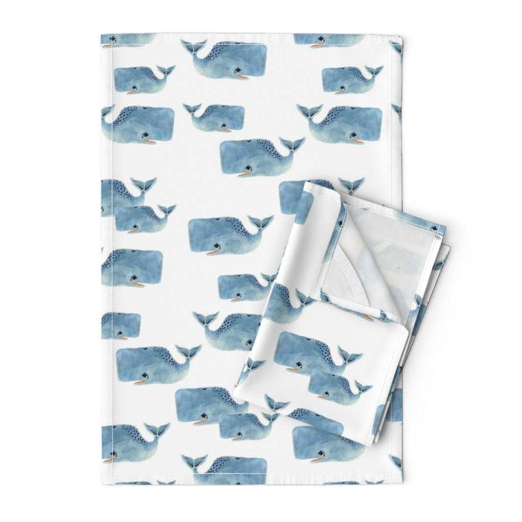 Orpington Tea Towels featuring Whale Pod in Blue by taraput
