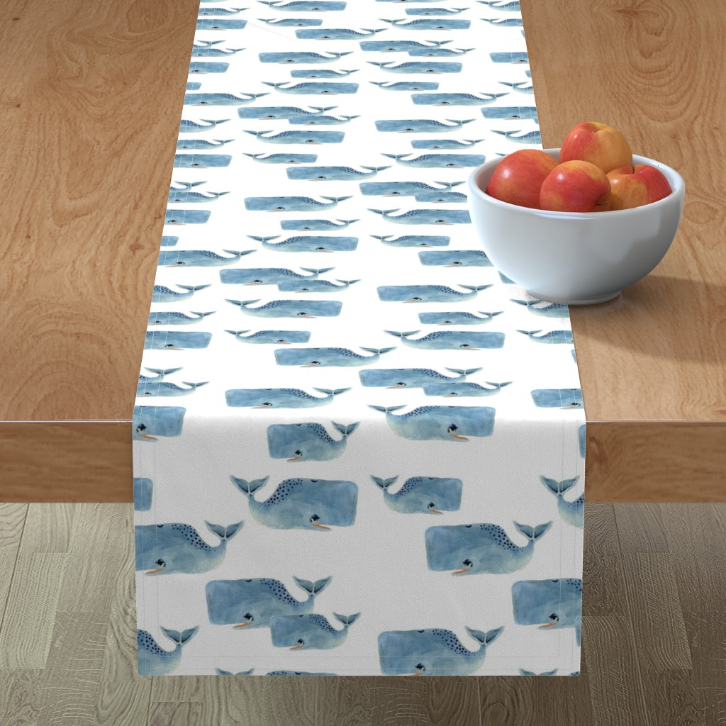 Minorca Table Runner featuring Whale Pod in Blue by taraput