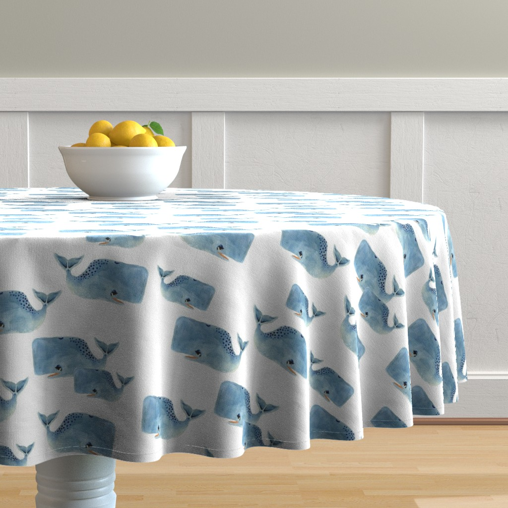 Malay Round Tablecloth featuring Whale Pod in Blue by taraput