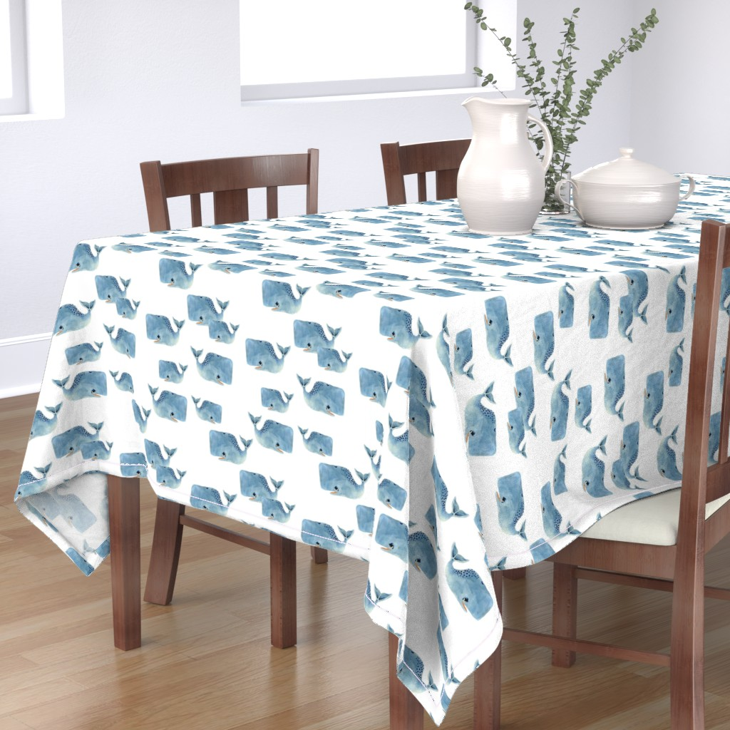 Bantam Rectangular Tablecloth featuring Whale Pod in Blue by taraput