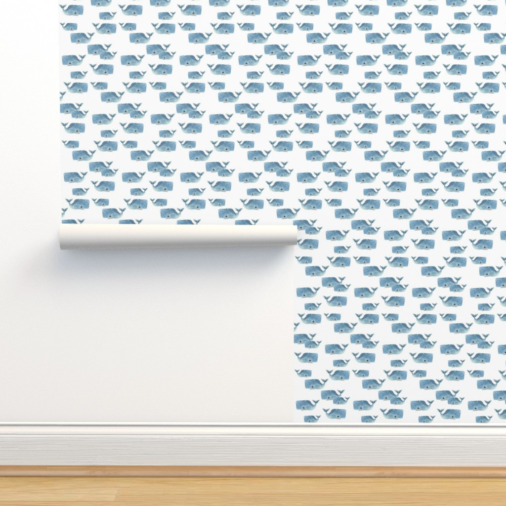Isobar Durable Wallpaper featuring Whale Pod in Blue by taraput