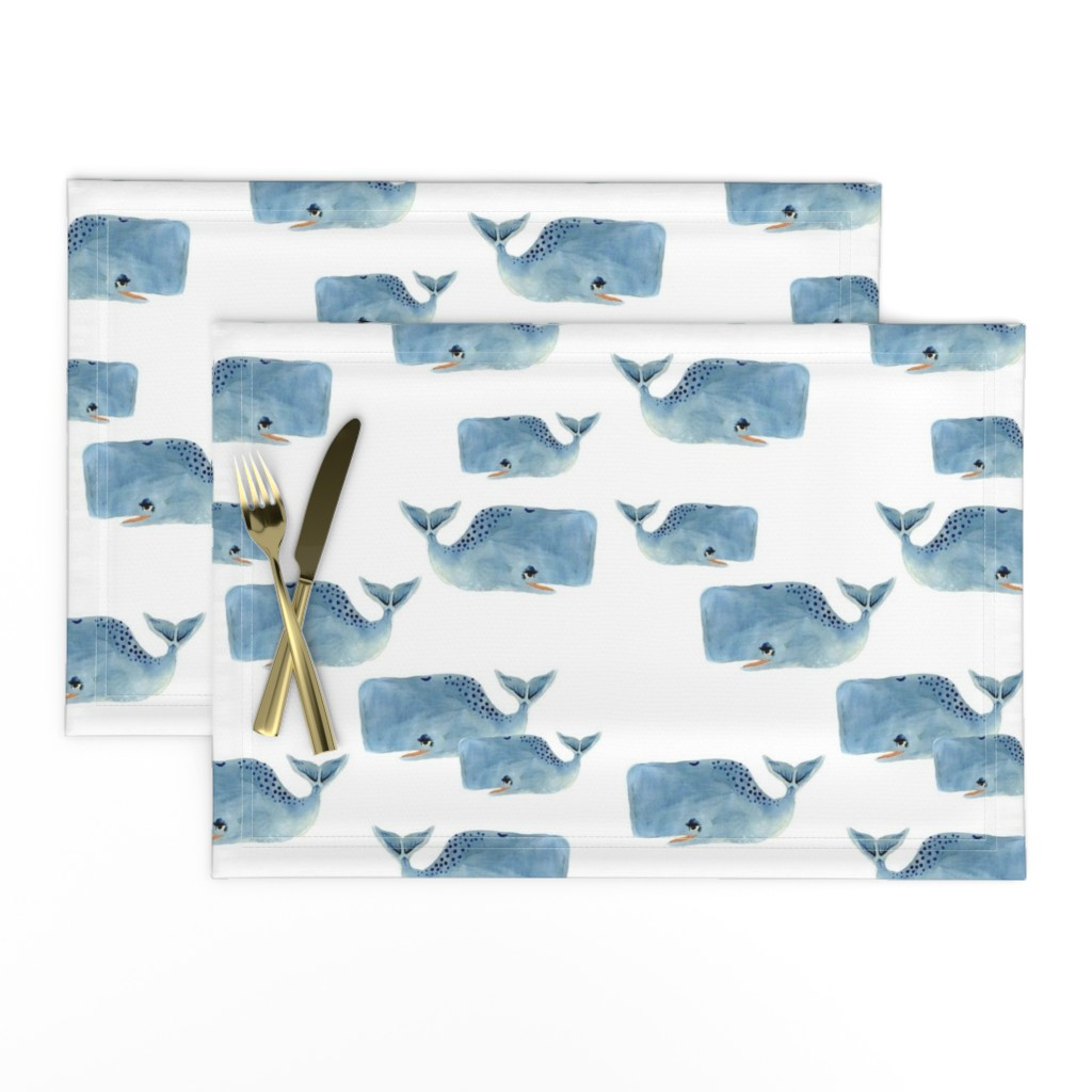 Lamona Cloth Placemats featuring Whale Pod in Blue by taraput