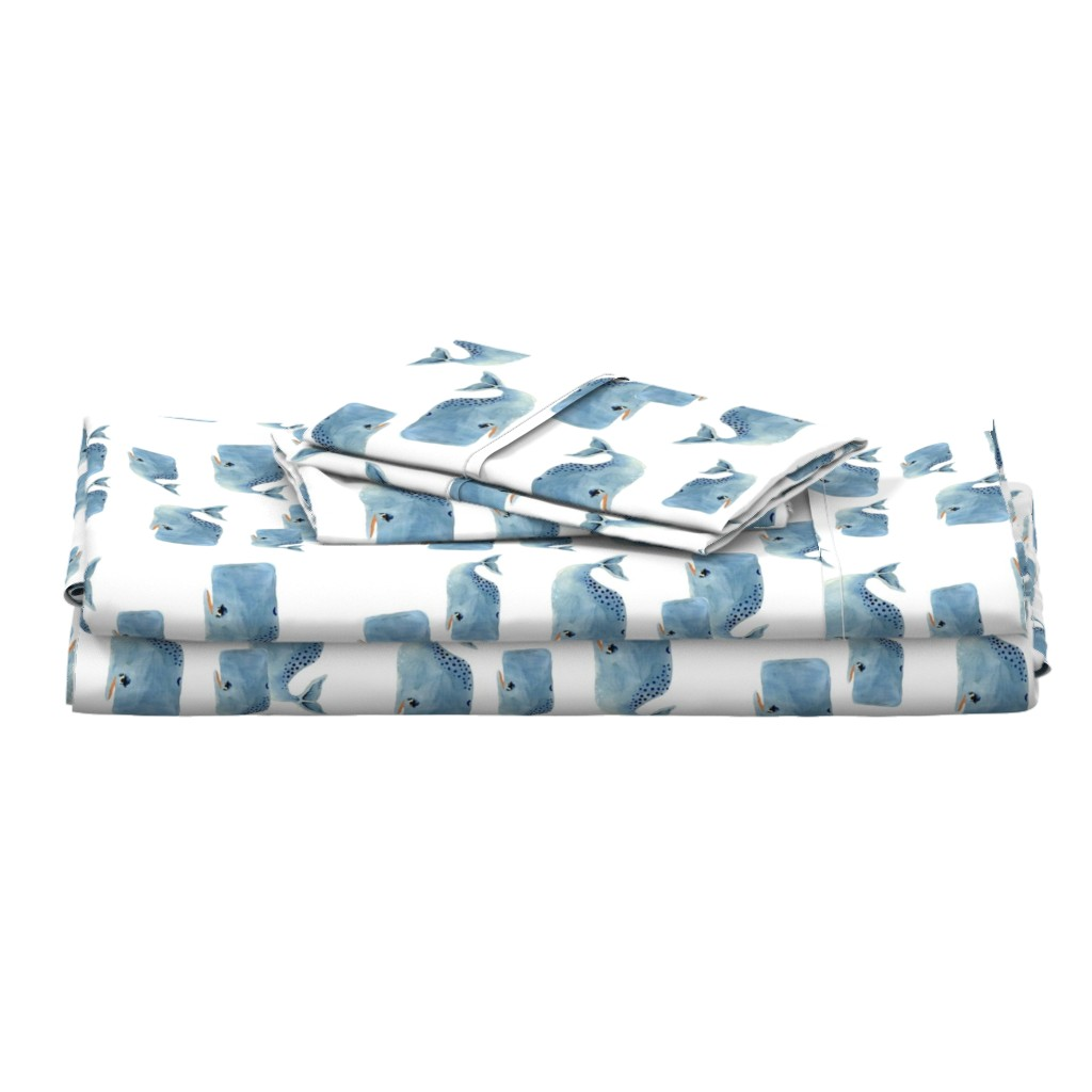 Langshan Full Bed Set featuring Whale Pod in Blue by taraput