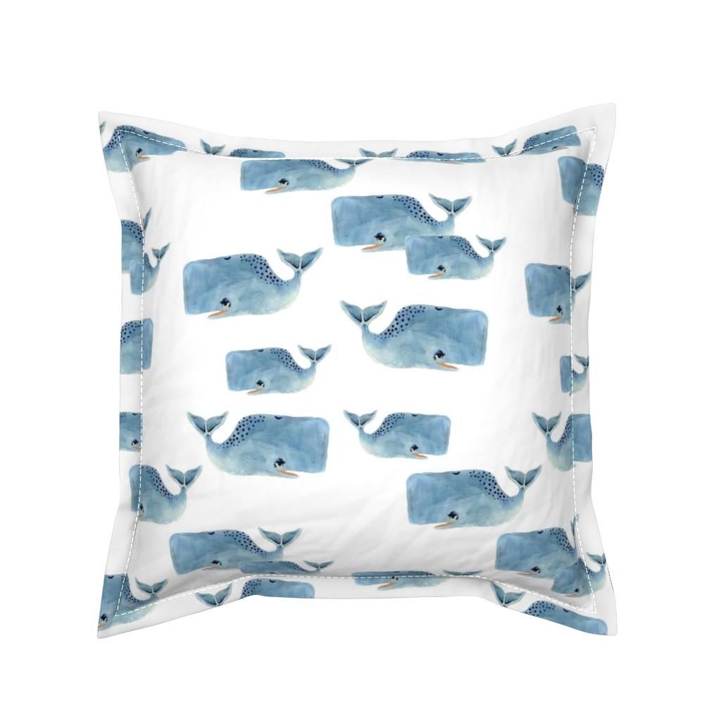 Serama Throw Pillow featuring Whale Pod in Blue by taraput