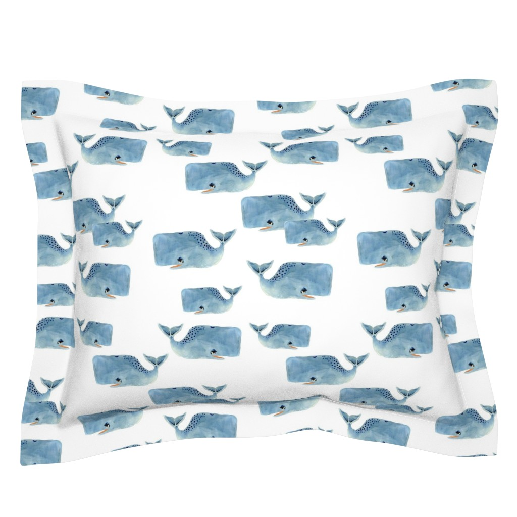 Sebright Pillow Sham featuring Whale Pod in Blue by taraput