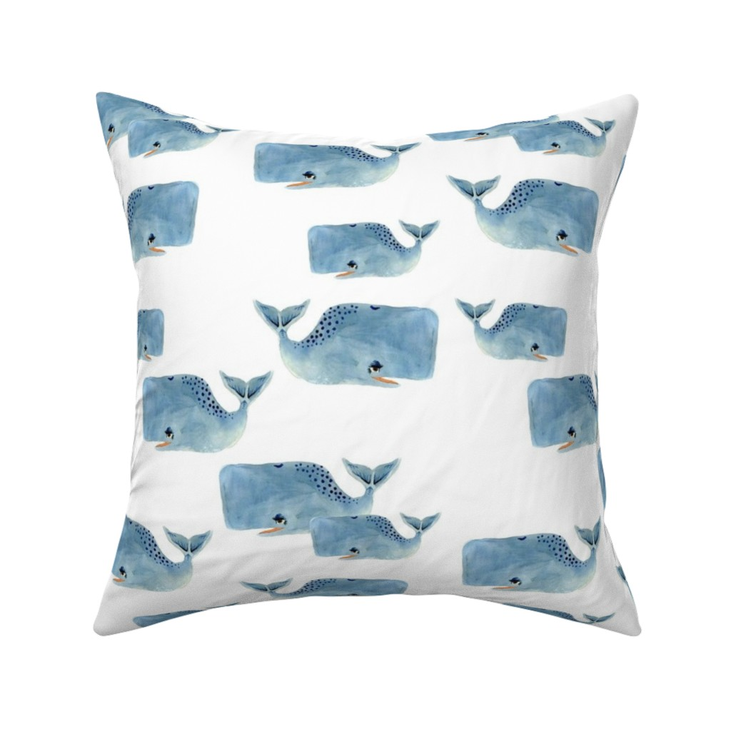Catalan Throw Pillow featuring Whale Pod in Blue by taraput