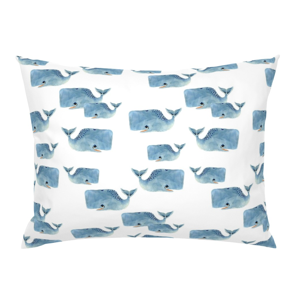 Campine Pillow Sham featuring Whale Pod in Blue by taraput