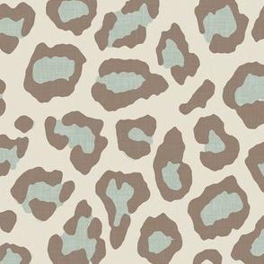 Etosha Leopard in Soft Aqua and Taupe