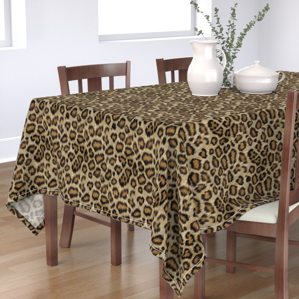 Bantam Rectangular Tablecloth featuring Etosha Leopard by willowlanetextiles