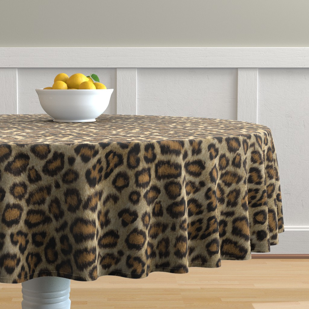 Malay Round Tablecloth featuring Etosha Leopard by willowlanetextiles