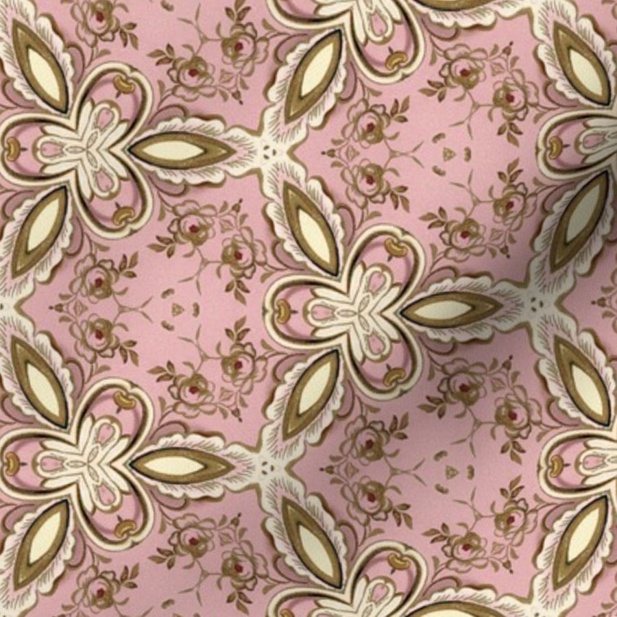 Fabric by the Yard Petit Trianon ~ Gilt Triad Circle Lattice