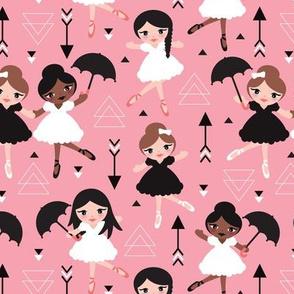 Cute pink geometric ballerina dancing girls illustration pattern