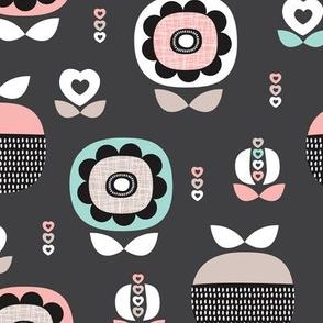 Soft pastel spring garden flower blossom and apple love illustration