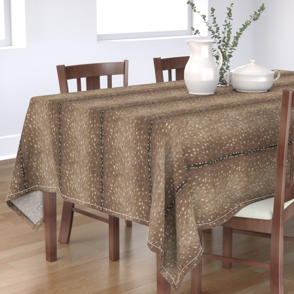Bantam Rectangular Tablecloth featuring Deer Hide Fabric and Wallpaper in Taupe by willowlanetextiles