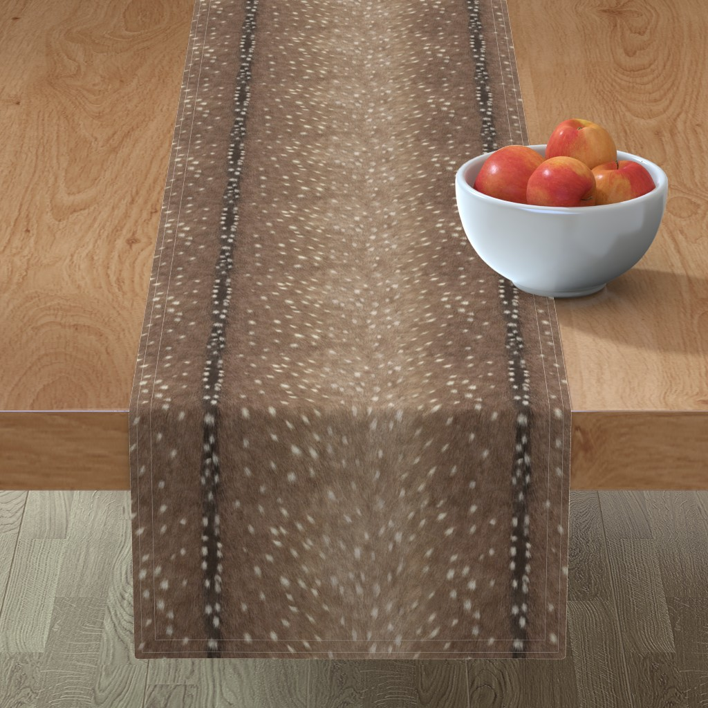Minorca Table Runner featuring Deer Hide Fabric and Wallpaper in Taupe by willowlanetextiles