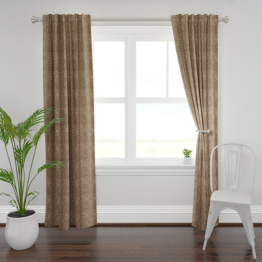 Plymouth Curtain Panel featuring Deer Hide Fabric and Wallpaper in Taupe by willowlanetextiles