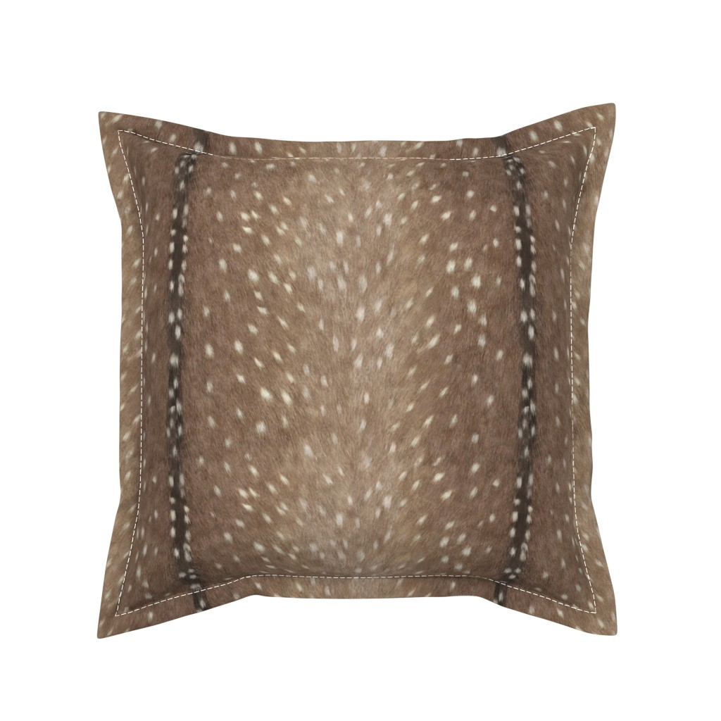 Serama Throw Pillow featuring Deer Hide Fabric and Wallpaper in Taupe by willowlanetextiles
