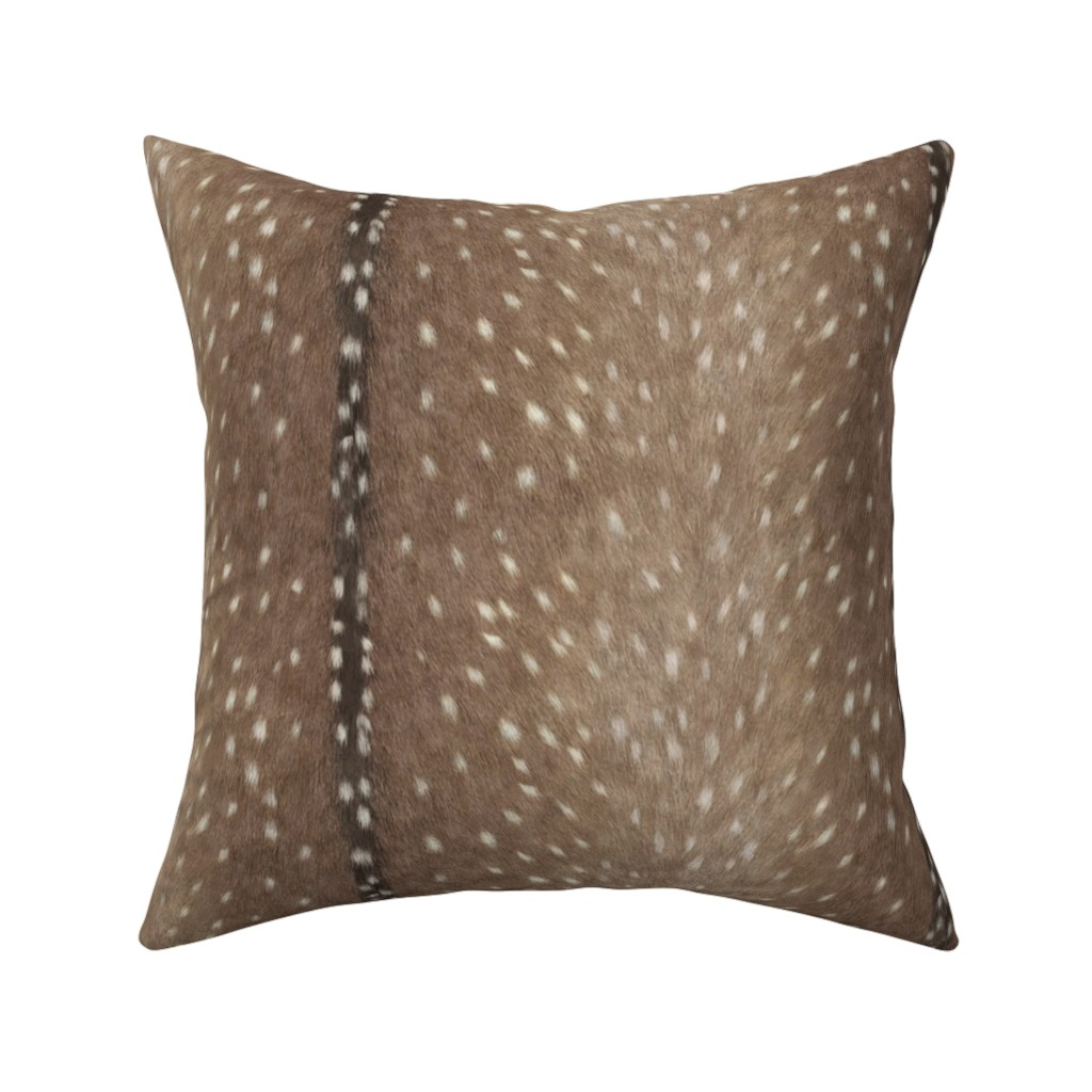 Catalan Throw Pillow featuring Deer Hide Fabric and Wallpaper in Taupe by willowlanetextiles