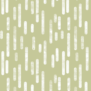 White on Pale Pistachio Inky Rounded Lines Pattern