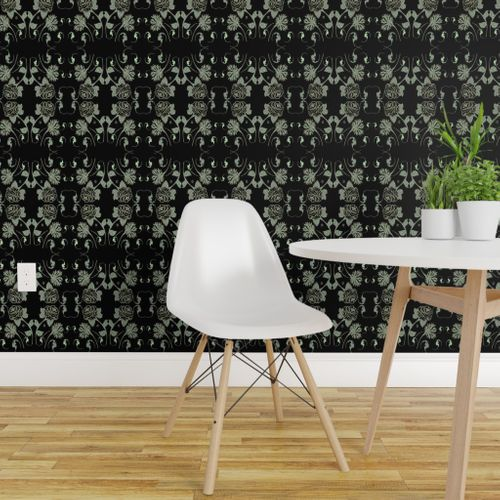 Wallpaper Black And Lime Lace Flowers And Bats