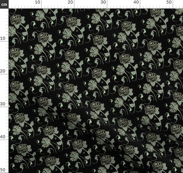 Fabric By The Yard Black And Lime Lace Flowers And Bats